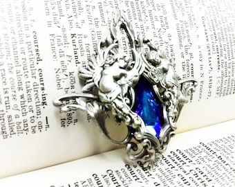 Venus (Silver/Purple) Aged silver plated brass filigree pendant Fantasy mythology inspired jewelry Vintage victorian steampunk gothic style