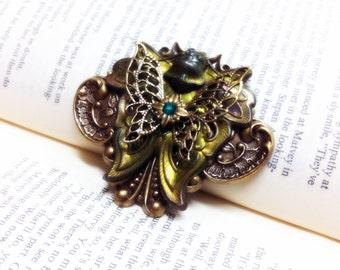 Absinthe - Aged brass filigree pendant - Fantasy mythology inspired jewelry - Vintage victorian steampunk gothic style
