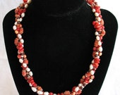 Coral Textures, freshwater pearls, argentina garnet, coral