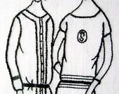Women handmade embroidery linen 1920's style nouveau deco atelier couture
