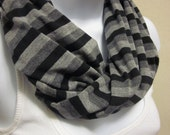 Unisex Cowl Loop Scarf with Gray and Black Stripes Jersey Knit Handmade Fashion by Thimbledoodle