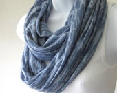 Denim Blue Infinity Scarf Jersey Knit Rayon Blend Burnout Handmade Fashion for Guys and Gals