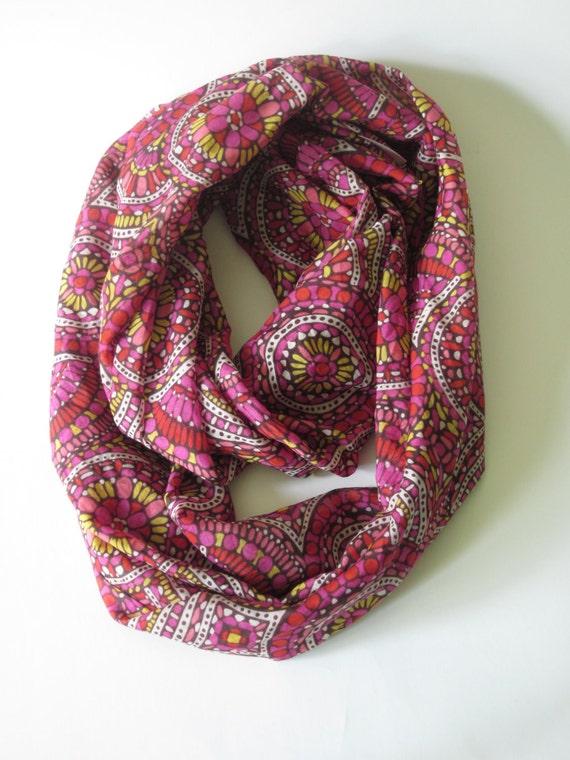 Silk Cotton Infinity Scarf Mandala Circles Red Pink Yellow Double Loop Scarf Handmade Boho Fashion