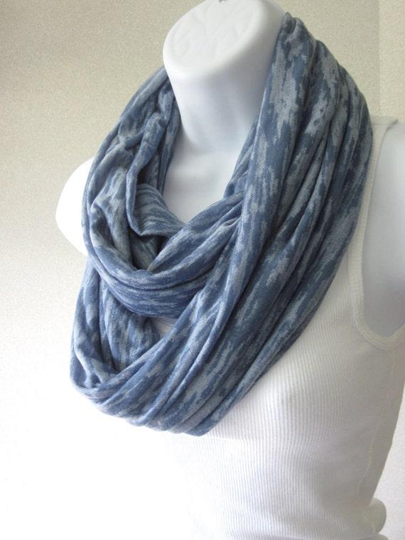 denim blue infinity scarf jersey knit rayon blend by