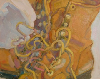 """Oil Painting Work Boots Laces """"Boots"""" 11""""x 9"""""""