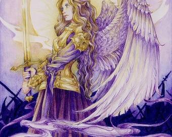 "Fantasy Warrior Angel Art Print ""Golden Warrior"" Fantasy Art"