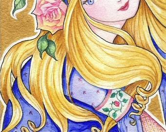 "Fairytale Princess 5x7 Print ""Little Briar Rose"" Fantasy Art Sleeping Beauty"