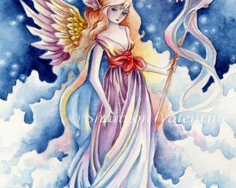 "Angel Art Print ""Flight of Birds"" Fantasy Art Signed Print"