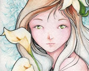 "Fantasy Art Nouveau 5x7 Print ""Lily"""