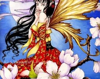 "Art Fairy 5x7 Print ""White Moon"" Fantasy Art"