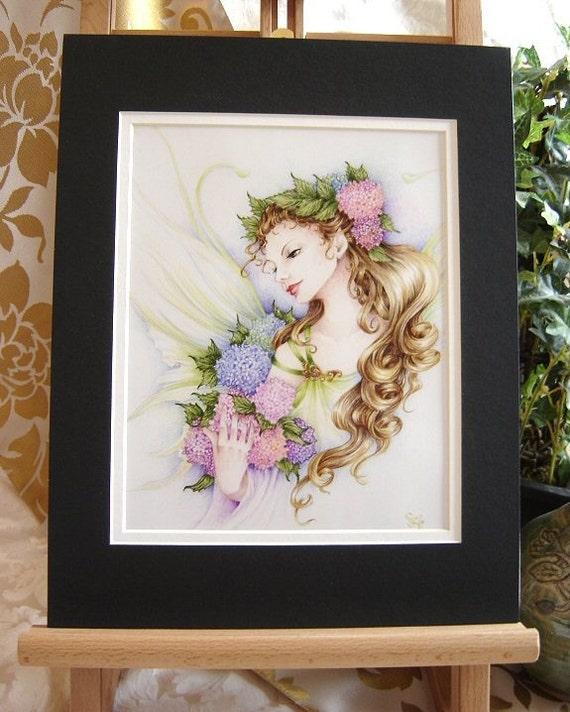 "Fairy Art 11x14 MATTED Print ""Hydrangea"" Fantasy Art"