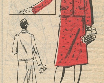1960s Vintage Sewing Pattern Prominent Designer A706 Misses PETITE Skirt and Jacket Bust 36 UNCUT