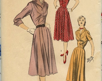 1950s Advance 5729 Vintage Sewing Pattern One Piece Dress Contrast Yoke and Collar Pleated Flared Skirt Bust 32