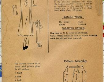 1930s Vintage Sewing Pattern Superior 532 Womens V or Scoop Neck Slip Lingerie Pattern Bust 36