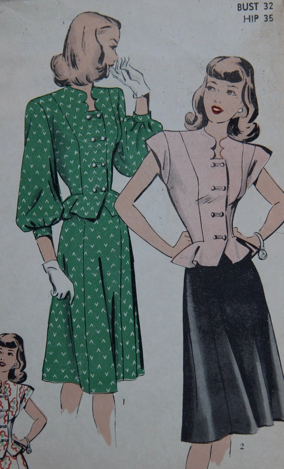 1940s Hollywood 405 Vintage Sewing Pattern Two-Piece Suit-Dress Peplum Jacket or Blouse and Flared Skirt - WWII Era -Bust 32