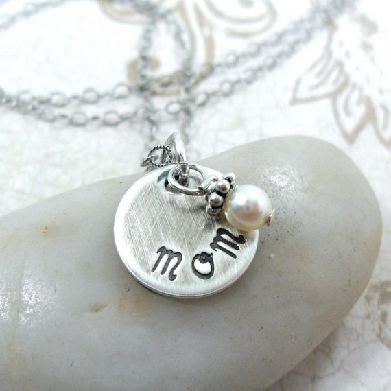 Mom Necklace - Gift for Mom - Gift for Wife - Push Gift - Mother's Day Gift - Hand Stamped Sterling Silver