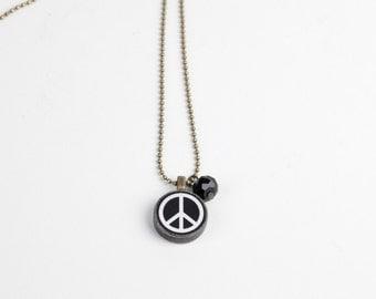Peace Sign Necklace - Miniature  Pendant - Hippy Love