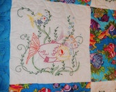 Quilt Throw Sofa Blanket Lap Robe Hand Embroidery Fish Throw
