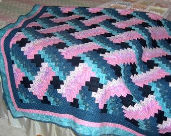 Quilt Full-Queen Handmade Pink Blue-Green