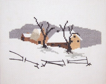 Winters Wonderland Country Snow Scene Cross Stitch Picture