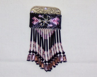 Beaded Brooch Silver Crystal Black And Pink  Beaded Heart Fringed Pin