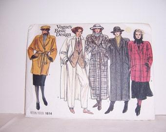 Vogue's Basic Design Pattern 1614 Coat Pattern 6-8-10 Free U.S. Shipping