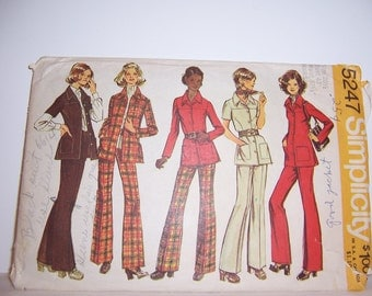 1972 Half Size Simplicity Jacket and Pants Pattern 5247 Size 20 1/2