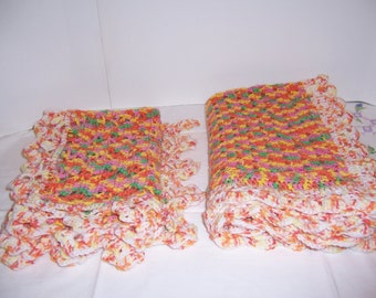 Toddler Blanket and Matching Doll Blanket Bright Colors Crochet
