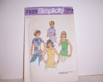 1976s Simplicity 7533 Retro Top Pattern Size 14 Uncut Free U.S. Shipping