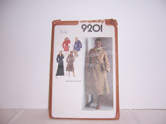 UnCut Unused 1979 Simplicity 9201 Coat Off The Shoulder Style Full Length or Car Length Free USA Shipping