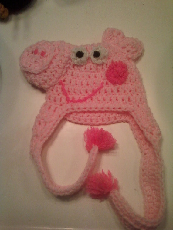 Crochet Pattern Pig Hat : Items similar to Made To Order Pig Crocheted Hat on Etsy