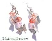 Butterfly Earrings - Butterflies - Strawberry Rose Czech Rondelle Beads - Charm, Dangle,  Summer Earrings