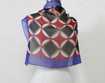 "90s Talbots Silk Scarf / Sacred Geometry / Color Block / Jewel Tones / 21"" Square"