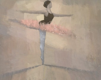 The Pink Tutu, Ballerina Ballet Dance Painting, Signed Giclee Print