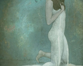 Shavata, Female Figure Painting Signed Giclee Print 15.5x11 inches