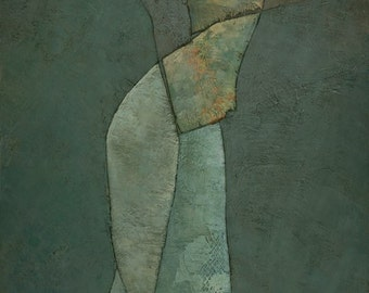 Lyras Spell, Modern Abstract Figure Painting, Signed Giclee Art Print 21x8 inches