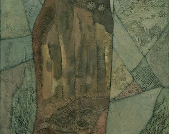 Laelia, Mixed Media Figure Painting, Signed Giclee Print 21x8 inches