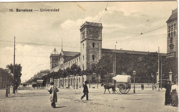 Antique Photograph Postcard Street Scene Barcelona