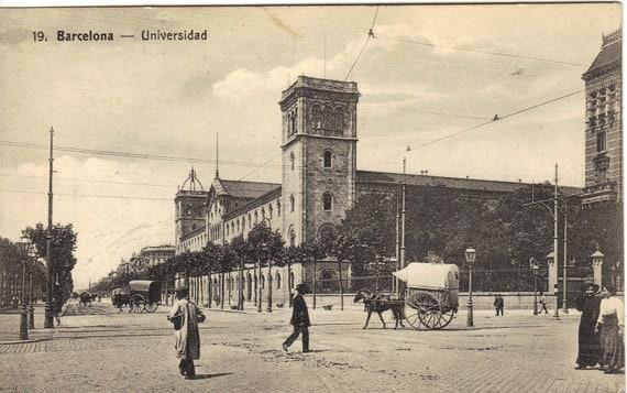 Antique Photograph Postcard Street Scene Barcelona