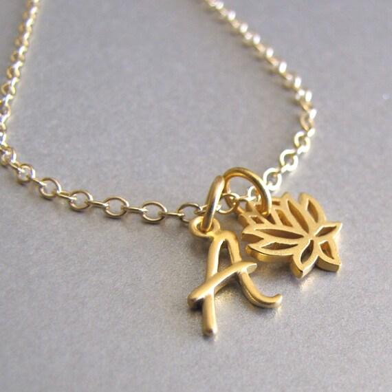 gold initial lotus charm bracelet
