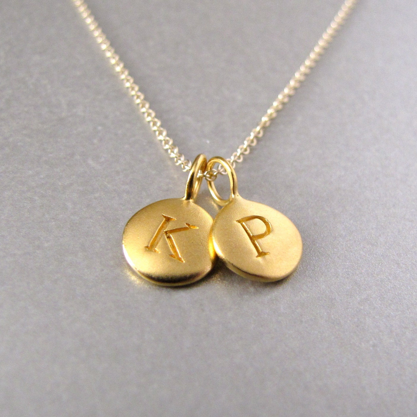 Gold 2 initial charm necklace initial by tangerinejewelryshop for Jewelry box with initials