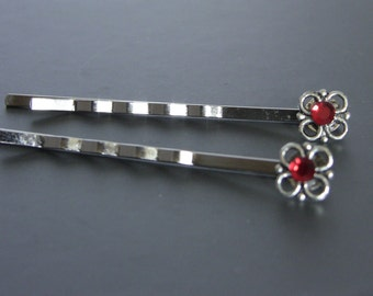 Silver Flower & Red crystal Bobby Pins