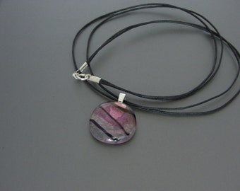 Clear Fused Glass Pendant with Pink & Gold Flecks and Black lines