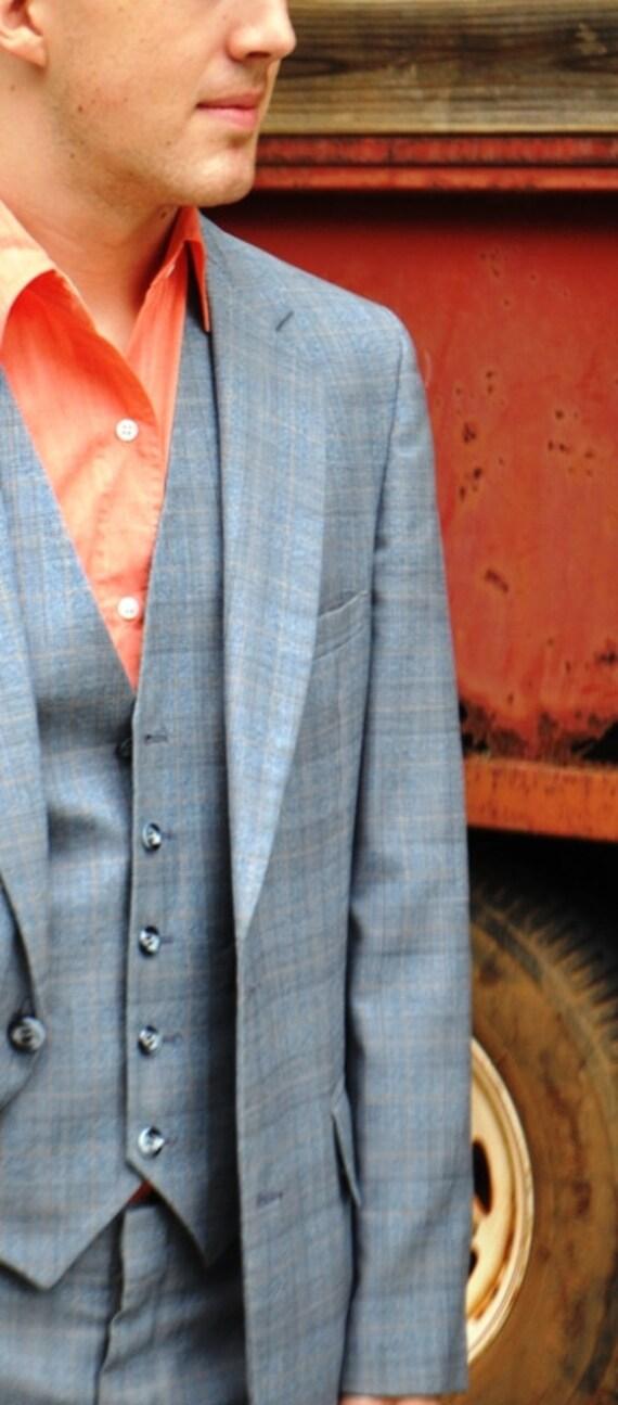 Men's Sport Coat Blue Glen Plaid Vintage 38R-38L Jacket