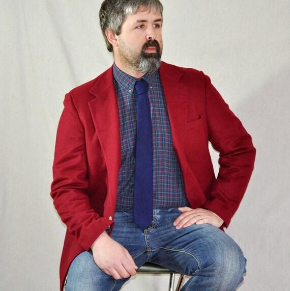 Red Wool Blazer. Men's Vintage Wool Sport Coat 45L-46L. Eveteam Homespun