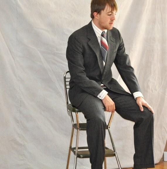 Vintage Men's Suit Black Glen Plaid Vintage Business Suit. 40L