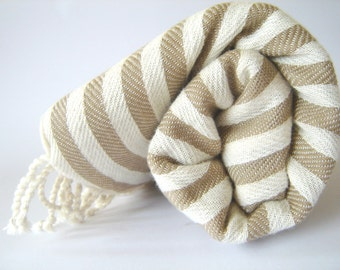 Turkish Bath Towel: Handwoven Peshtemal, Bath, Beach, Spa Towel, Light Brown Striped,, spring, easter