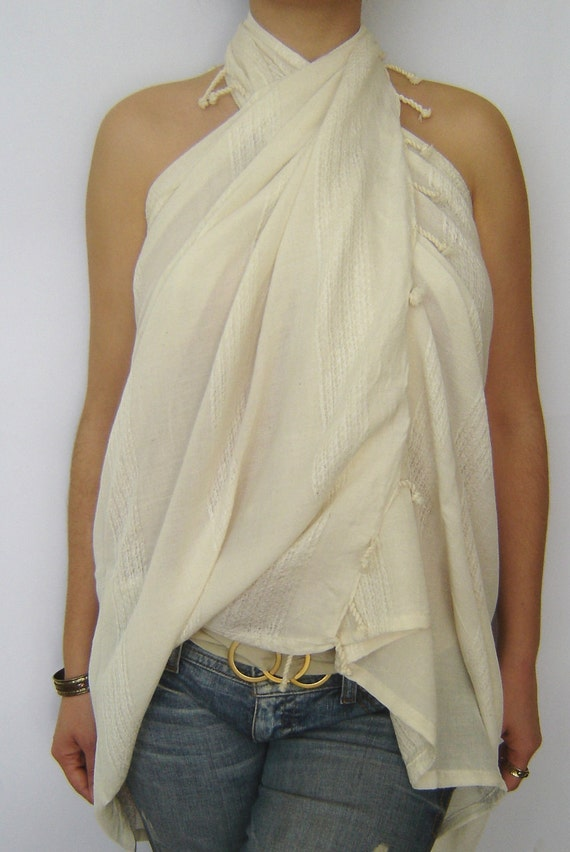 Elegant Beach Towel, Pareo, Sarong, on the boat, peshtemal, Organic Silk and Cotton, White
