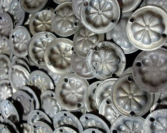 100 x very tarnished  silver colour Turkoman style coin discs with two holes