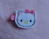 Hello Kitty with a Pink Ribbon Bow with Bling Bling Hair Clip